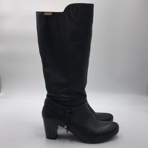 Leather Knee-Length Heeled Boots w/ Tie Detail